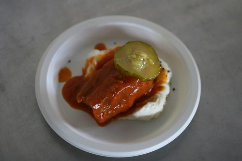 Restaurant Eugene: Caw Caw Creek Pork Belly served with hominy and buttermilk flan matched with Western style Carolina BBQ sauce and bread and butter pickles.