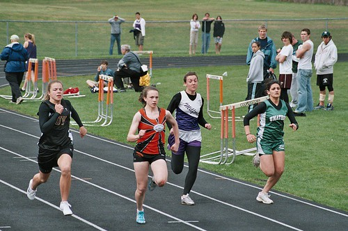 Track meet competition in girl's running