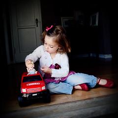 cinderella's weekend coach (sesame ellis) Tags: red girl square kid toddler child mykid cinderella tonkatruck year3 rubyslippers racheldevine wwwracheldevinecom 24hoursofflickr
