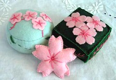 sakura pincushions (kitkabbit) Tags: pink green cherry japanese felt swap sakura pincushion craftster