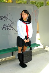 Waiting 4 bus 1 (Teafor2) Tags: school uniform cosplay outdoor busstop alterego schoolgirl pipmay