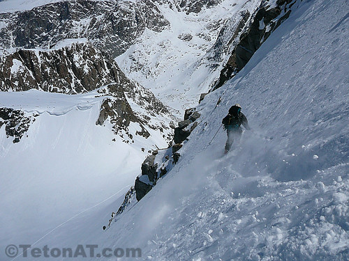 Kyle skiing some Wind River powder on the North Face of Gannett Peak