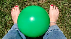 42: Kick Ball (wenjomatic) Tags: green grass toes jeans wen kickball 10things greenball 365days sunnytoday
