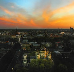 dusk in Riga (Dan65) Tags: park sunset sky church night bravo dusk horizon latvia explore russian 35 orthodox riga daugava magicdonkey