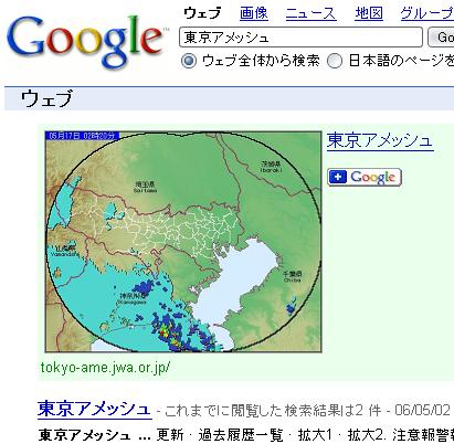 Google co-op : Google 検索に東京アメッシュガジェットを表示