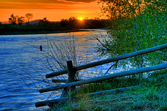 Snake River Sunset and the Little Bird (James Neeley) Tags: sunset river landscape bravo idaho snakeriver hdr artlibre superaplus aplusphoto tribehorizon