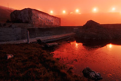 Ruins in reflection (Oldvidhead) Tags: sf sanfrancisco nightphotography red orange reflection water night gold nikon ruins long exposure surreal sutrobaths d200 nikondigital hdr ericlarson photomatix nikond200 oldvidhead photomatixhdr elarson