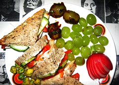 Cheese Sarnie with Fellini Faces (Bowhaus) Tags: cheese sandwich grapes radish wasabipeas bowhaus chilliolivesstuffedwithalmond francescabondyallrightsreserved