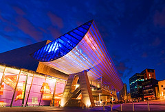 The Lowry (Darby Sawchuk) Tags: uk greatbritain travel england building english tourism museum architecture modern night manchester outside evening twilight europe european exterior artgallery theatre unitedkingdom britain dusk culture salfordquays landmark structure architectural lancashire nighttime venue salford musichall lowry cultural lyrictheatre jesters artscentre concerthall lowrycentre greatermanchester michaelwilford lslowry quaytheatre