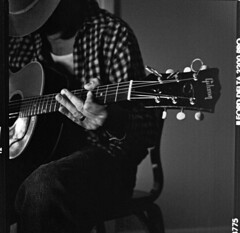 JHC (stephcarter) Tags: portrait blackandwhite bw musician 120 film zeiss mediumformat guitar grain hasselblad rodinal gibson ilford3200 80mm 503cw planart superbmasterpiece push6400