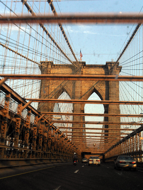 dirty windshield, Brooklyn Bridge