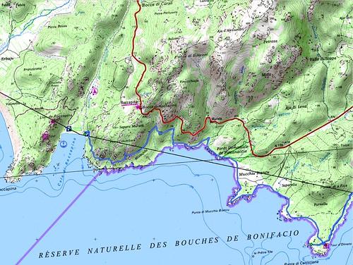 Carte de la côte entre la plage de Roccapina et la Punta di Caniscione avec la tour d'Olmeto (Ulmetu)