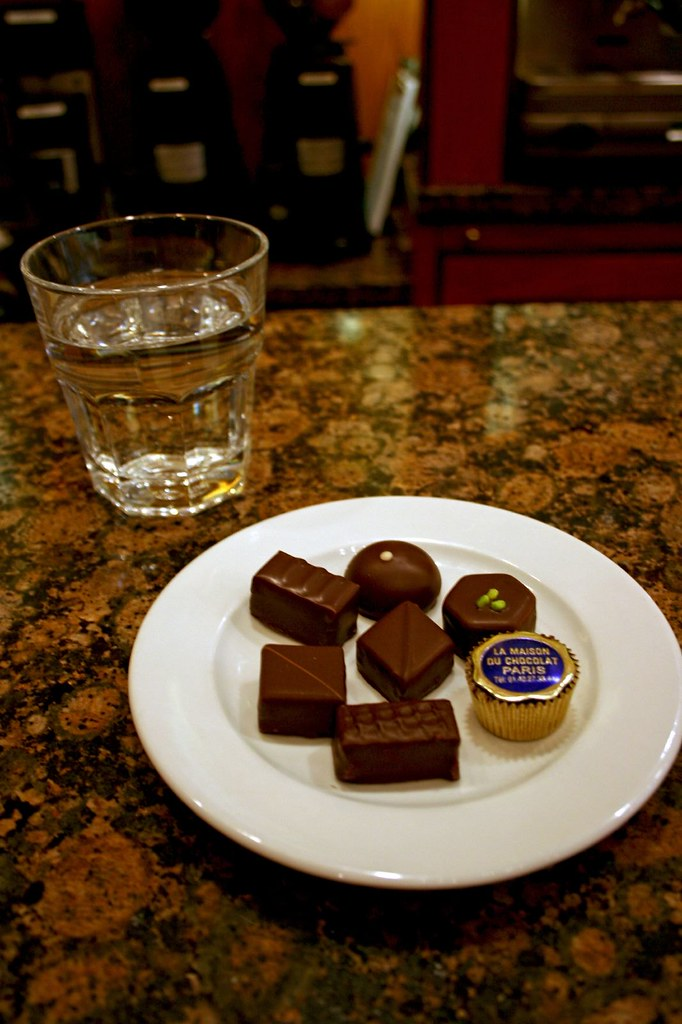 Plate of Chocolates and a glass of water