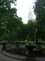 The Empire State Building through the haze of Madison Square Park by permanently scatterbrained, on Flickr