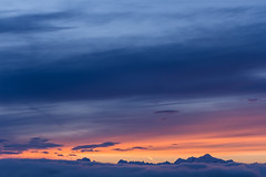 Mont-Blanc Over the Clouds at Dawn (Maximecreative) Tags: select dawn mountains alps montblanc pastel skyline clouds sky colourful orange blue atmospheric canon calm peaceful summit peaks range outdoors layers altitude soft