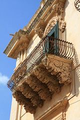 Fancy balustrades on a balcony in Noto