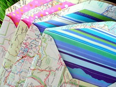New map envelopes (Tara Anderson) Tags: pink blue scrapbook map recycled envelope recycle ki envelopes reuse tacomaartmuseum envelopegroup trashnation