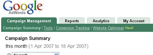 Screenshot of Website Optimizer integration into Google AdWords