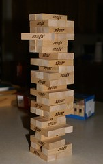 The Jenga game that Bella walked away from because Daddy would not promise to let her win