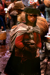 Young woman at Pisac Marketplace (Carlos Ebert) Tags: peru mother son andes kodachrome coolest pisac natives
