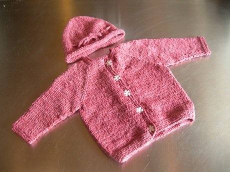 Molly's cardigan and hat - completed!