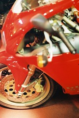 Stopping Power (Ross Finnie [20Hz]) Tags: red film wheel museum 35mm ross transport olympus om10 motorbike brake ducati disc tyre lever kelvinhall finnie rossfinnie