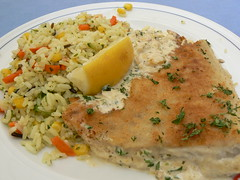 P1070295 (delirious_equilibrium) Tags: food fish austria yummy europe rice delicious mmm nordsee savory innsbruck pilaf