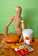 WOODY LOVING IT (FUNKYAH) Tags: food cute artist burger woody mcdonalds fries lonely