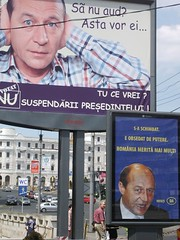 Pro- and anti-Basescu campaign posters, Sibiu 12 May 2007