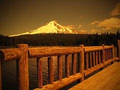 On the Dock at Trillium Lake (Gigapic) Tags: usa sepia oregon landscape unitedstates filter mthood trilliumlake interestingness125 challengeyouwinner superaplus aplusphoto superhearts cokinsepiaa5 photofaceoffwinner pfogold