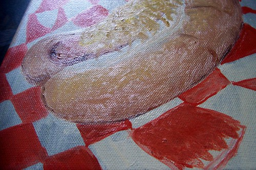 close up of hot dog painting