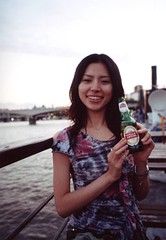 STELLA girl* (tae*) Tags: uk carnival stella london film beer girl beautiful thames river japanese friend natura ontheboat natsuki classica