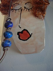 Jane Heggen Pot Head w/blue beads
