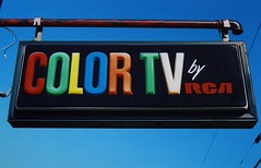 Color TV by RCA (MilkaWay) Tags: winder rca vintageadvertising colortv travelersmotel barrowcounty smalltowngeorgia vacuumformedsign