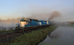 Early morning at the Ponds (GLC 392) Tags: nsm nrex north shore mining railroad railway train emd sd402 national equipment company 2001 5418 655 fog sun sunrise rise foggy toimi pond ponds smoke tree early morning beautiful amazing mn minnesota 5am 5 am load loads