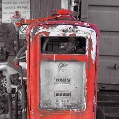 Petrol Pump (rustyruth1959) Tags: nikon nikond3200 nikkor1855mm ripponden yorkshire fuel petrol petrolpump pump selectivecolour red garage door outdoor notice nozzle square wires tubes pipes broken gallons