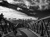 Wiwilíbrücke, Freiburg (Oly User) Tags: kaiserstuhl olympus september2016 thomasmeinersmann urlaub freiburg brücke bw omdem1 17mmf18 wiwilíbrücke