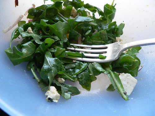 baby arugula salad, almost gone