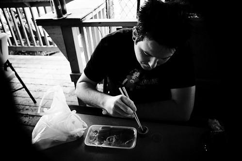D grinding some sashimi