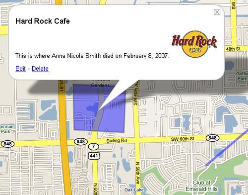 Google My Maps: Where Anna Nicole Smith Died (Shape Tool)