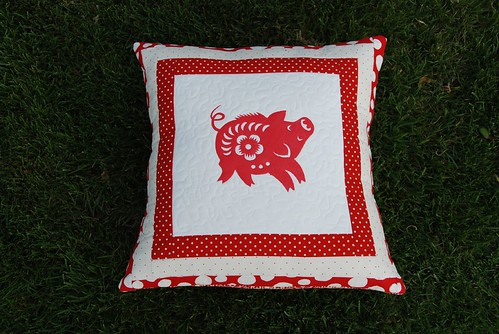 Log Cabin Pig Pillow for Michelle