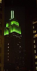 Green on the Empire State Building by paulaloe, on flickr