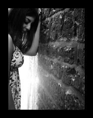 despair (ladyinpink) Tags: portrait blackandwhite woman brick wall dress emotion despair cemile