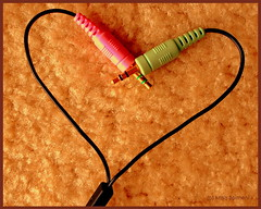 .Get wired : Get Connected. (.krish.Tipirneni.) Tags: pink brown green love heart cable wired hyderabad shape connection hpc prema lovesign shapeofheart shapeofmyheart rktobjects audiocable