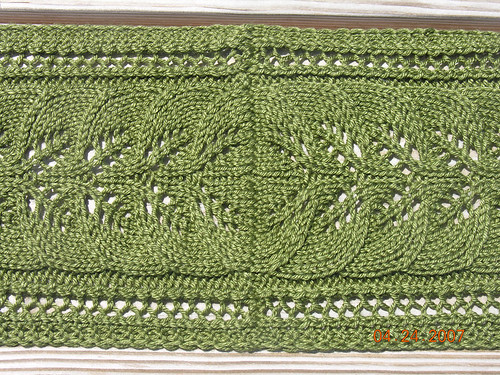 Column of Leaves Scarf Closeup