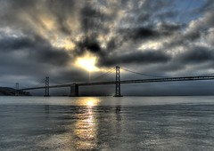 Bridge.. (Matty_P) Tags: sanfrancisco california bridge sea cloud sun water nikon searchthebest suspension d200 span oaklandbaybridge naturesfinest photomatix 18200vr matthewpearson anawesomeshot explore493 holidaysvancanzeurlaub ysplix