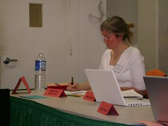 Moderator Lisbeth Fuisz prepares some trenchant questions for presenters at the 2007 University Writing and Research Symposium