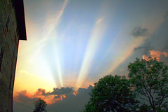 God's rays on my house (Available for licensing and purchase) (! .  Angela Lobefaro . !) Tags: blue roof sunset sky italy sun verde castle topf25 yellow topv111 azul topv2222 clouds landscape 1 countryside interestingness topf50 topf75 bravo italia nuvole quality topv1111 topv999 interestingness1 gimp himmel wolken bleu ciel cielo nubes linux 300views topv777 rays grn nuages schloss biella frontpage ubuntu eos350d sonneuntergang beams 800views 700views sunbeams coucherdesoleil italians raggi 1000views kubuntu digikam topv900 topv1000 topv700 900views magicdonkey 50faves someonelovesthisshot i500 bestphotosonflickr bestpicturesonflickr castellodivaldengo holidaysvacanzeurlaub angiereal superbmasterpiece maxgreco angelalobefaro angelamlobefaro angelamarialobefaro massimilianogreco