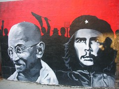 Freedom Fighters Ghandi & Guevara (puroticorico) Tags: wickerpark chicago wall painting freedom mural fighter chitown voice neighborhood ghandi che liberation guevara windycity advocacy