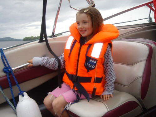 Sarah on the boat.